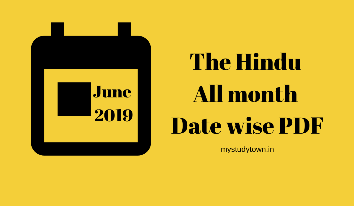 THE HINDU epaper PDF [June 2019] - Date wise