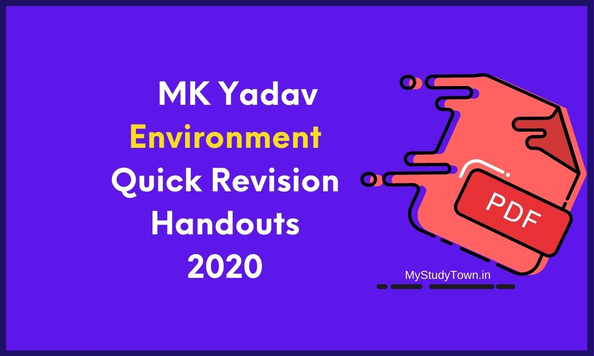 MK Yadav Environment Quick Revision Handouts 2020 PDF Free Download
